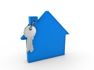 3d house key blue home estate security